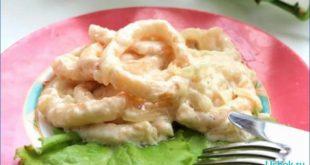 Как вкусно приготовить кальмары в сметане с луком