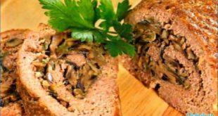 Аппетитный мясной рулет с грибами и оливками